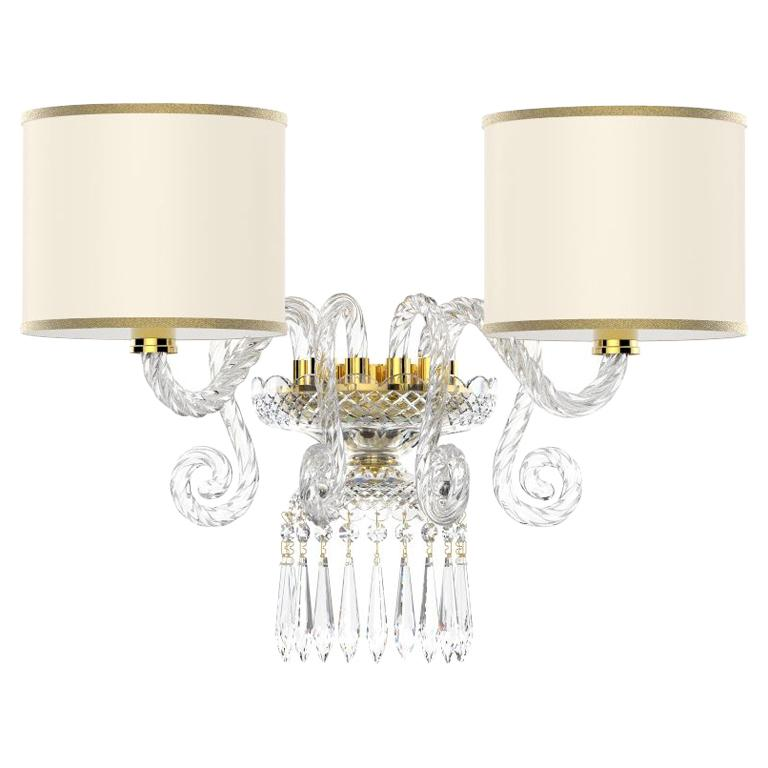 Charming Diamante Neoclassical Crystal Wall Light With Colored Lampshades For Sale