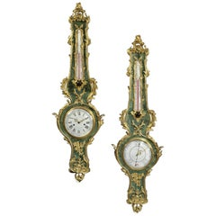 Louis XV Style Green Stained Horn Clock and Barometer Set, circa 1880