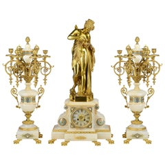 Large 19th Century French Louis XVI Style Mantel Clock Set