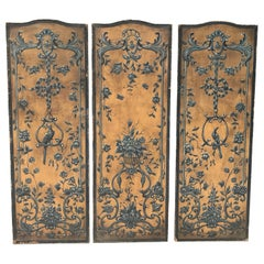 18th Century Gold and Blue Painted Dutch Panels with Embossed Cordovan Leather