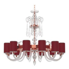 Diamante Sol Neoclassical Crystal Chandelier with Colored Shades I