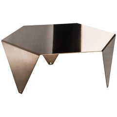 Small Table Ruche, in Galvanized Metal, Shadow Finish, Italy