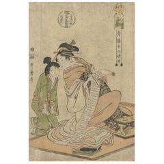 Edo Beauty, Floating World Courtesan, Utamaro, Original Japanese Woodblock Print
