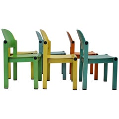 Dining Chairs Vintage Multi-color Beech Pop Art Set of Six, circa 1980