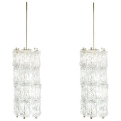 Set of Four Midcentury Murano Glass Pendant Lamps by Barovier Toso, Italy