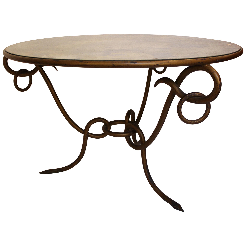 Coffee Table by René Drouet, Mirror and Iron, circa 1940