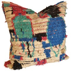 Custom Pillow by Maison Suzanne Cut from a Hand Loomed Wool Moroccan Azilal Rug