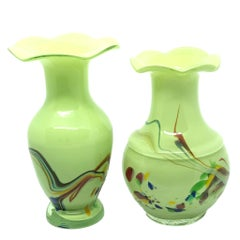 Two Vases Fratelli Toso Millefiori Italian Venetian Murano Sommerso Vintage