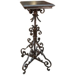 French Iron Pedestal Table or Sculpture Stand, circa 1940