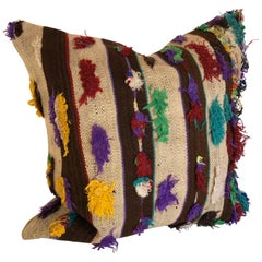 Custom Pillow by Maison Suzanne, Cut from a Vintage Handloomed Wool Moroccan Rug