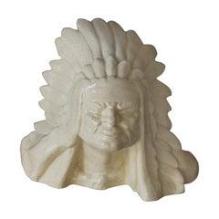 Art Deco French American Native Craquelè Sculpture, 1930s