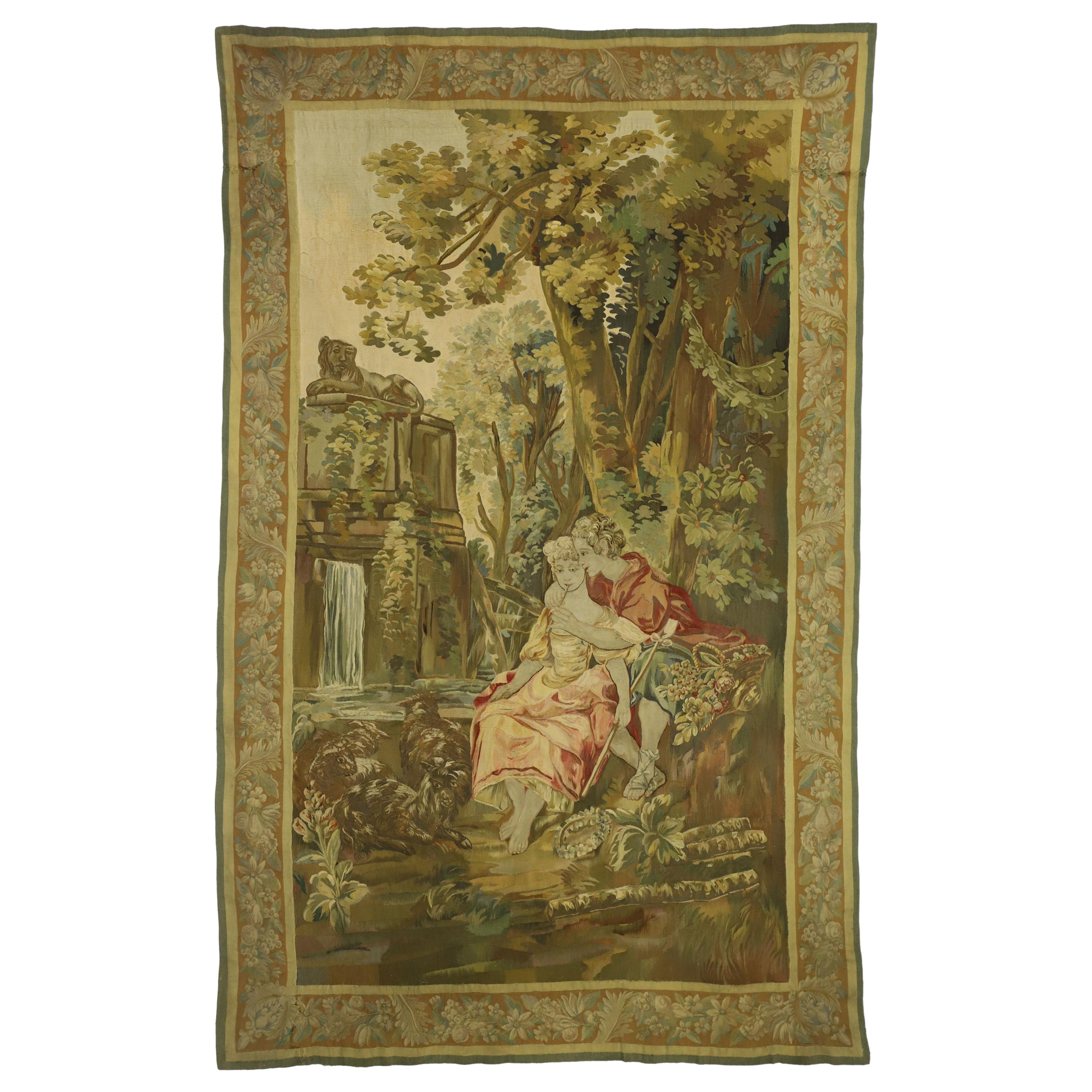 Antique French Rococo Tapestry Inspired by Francois Boucher The Agreeable Lesson