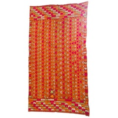 Phulkari Wedding Shawl, Silk Embroidery on Cotton, Punjab India 20th Century