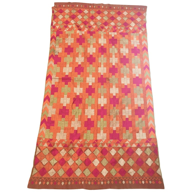 Phulkari Wedding Shawl, Silk Embroidery on Cotton, Punjab India, 20th Century For Sale