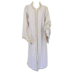 Moroccan White Kaftan Maxi Dress Caftan Size Large