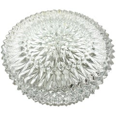 Ice Pattern Clear Glass Flush Mount Ceiling Light, 1960s, Italy