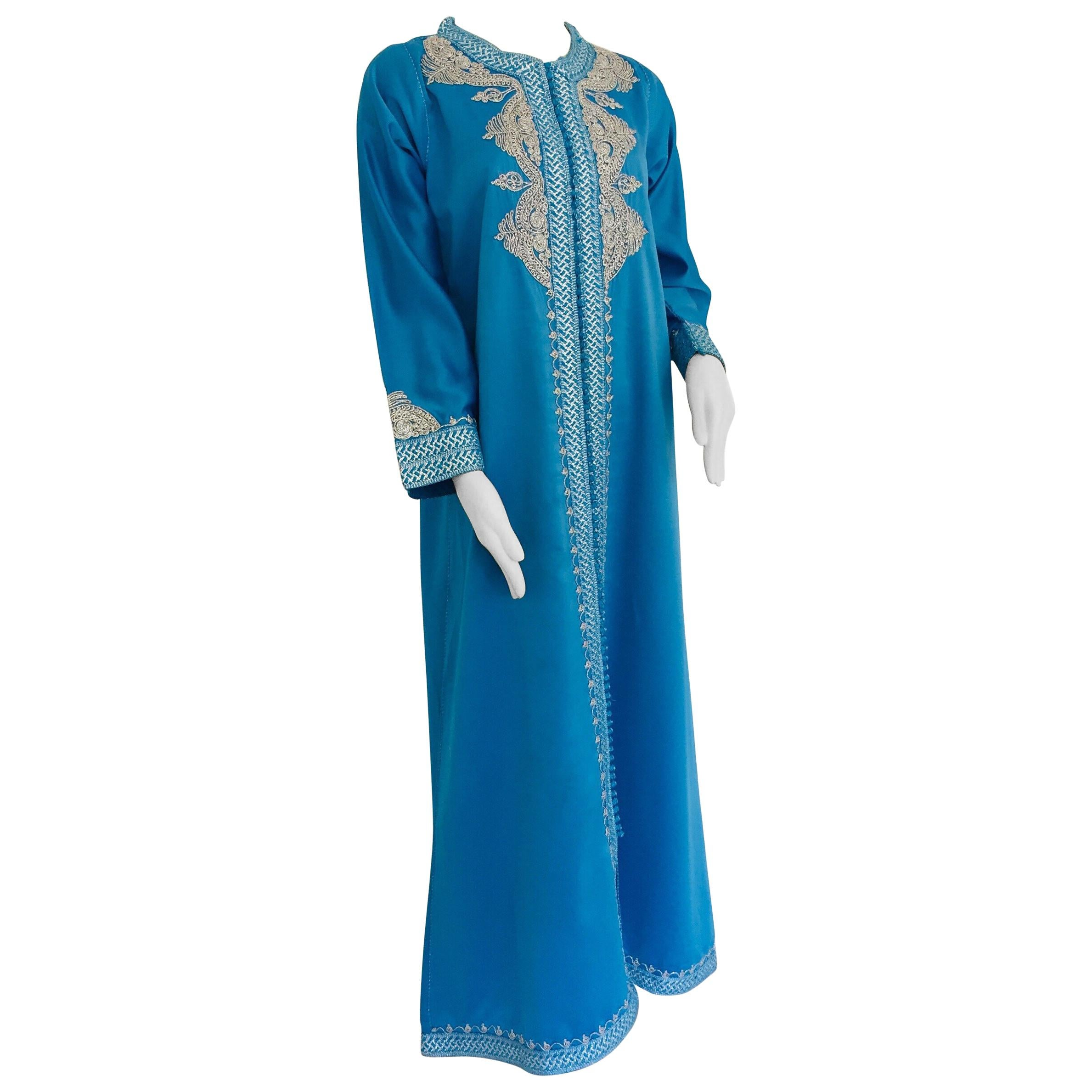 Moroccan Kaftan in Turquoise Blue and Silver