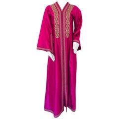 Moroccan Vintage Caftan 1970s Kaftan Maxi Dress Hot Pink Fuchsia
