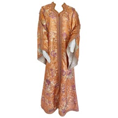 Moroccan Kaftan Orange and Purple Floral with Gold Embroidered Maxi Dress Caftan