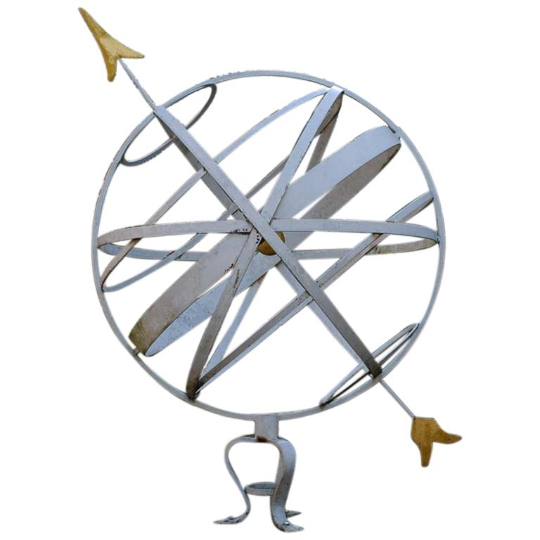 Large Scale Steel Armillary Sphere Sundial with Gold Leaf Gilt Details