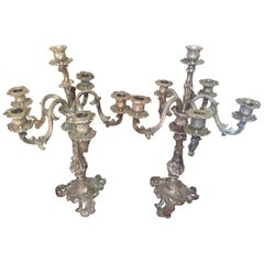 Early 20th Century Louis XV Style Pair of Silvered Bronze Candleholder, 1900s