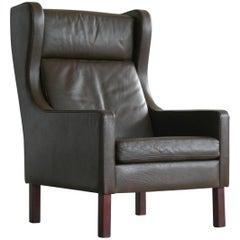 Danish Borge Mogensen Style Easy Chair in Espresso Buffalo Leather