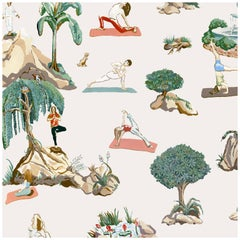 Forest Yoga Wallpaper Natural Color Way on Smooth Paper