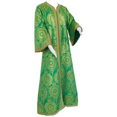 Elegant Moroccan Caftan Lime Green and Gold Metallic Floral Brocade