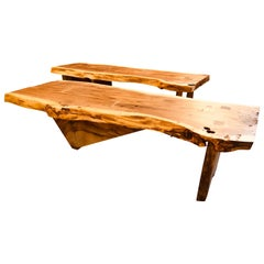 Pair of George Nakashima Style Slab Tree Bark Benches or Tables