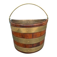 18th-19th Century English Navette Form Brass Bound Peat Bucket