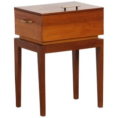 1950s Teak and Pine Sewing Side Table