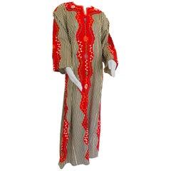 Vintage Middle Eastern Ethnic Caftan, Kaftan Maxi Dress