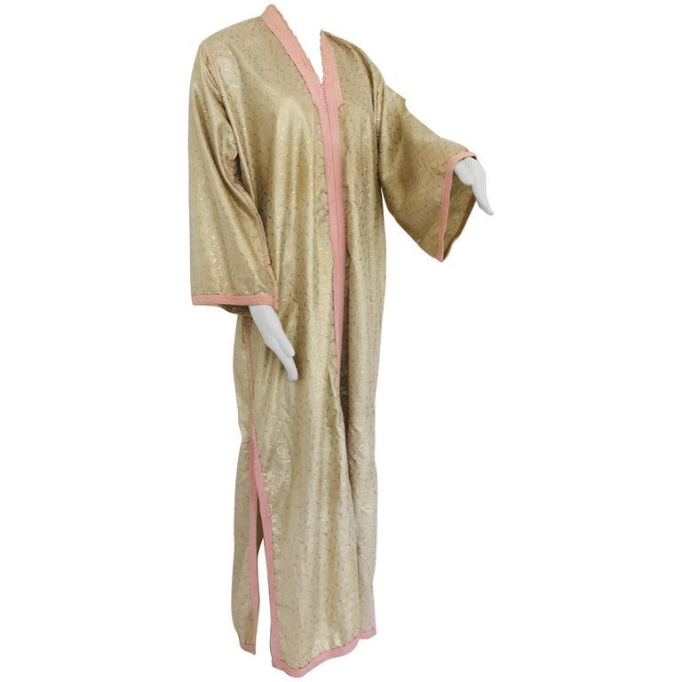 1970s Metallic Gold Moroccan Caftan, Kaftan Maxi Dress North Africa, Morocco For Sale
