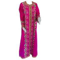 Gorgeous Moroccan Caftan in Hot Pink Fuchsia Maxi Dress Kaftan