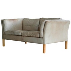Borge Mogensen Style Two-Seat Sofa in Tan Patinated Leather by Stouby