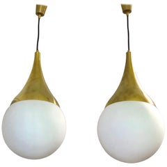 Pair Italian Mid-Century Brass & Opaline Glass Pendants/ Chandeliers by Stilnovo