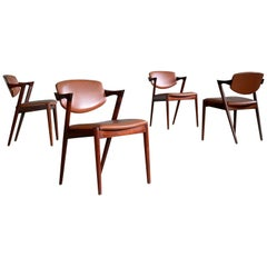 Set of Four Kai Kristiansen 1960s Model 42 Rosewood and Leather Dining Chairs