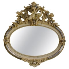 Antique French Silver Leaf Gilt Oval Mirror with Crest