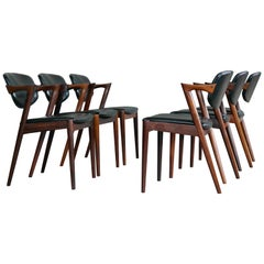 Set of Six Kai Kristiansen Model 42 Rosewood Dining Chairs for Schou Andersen