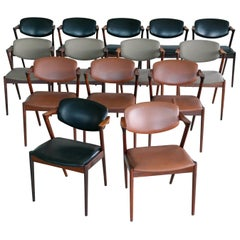 Set of 14 Kai Kristiansen Model 42 Rosewood Dining Chairs for Schou Andersen