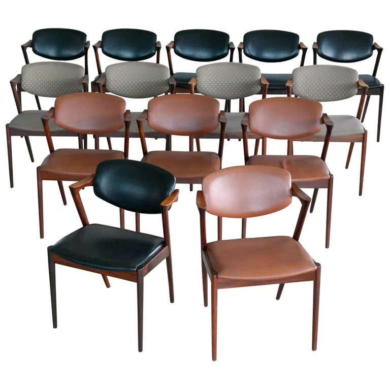 Set of 14 Kai Kristiansen Model 42 Rosewood Dining Chairs for Schou Andersen