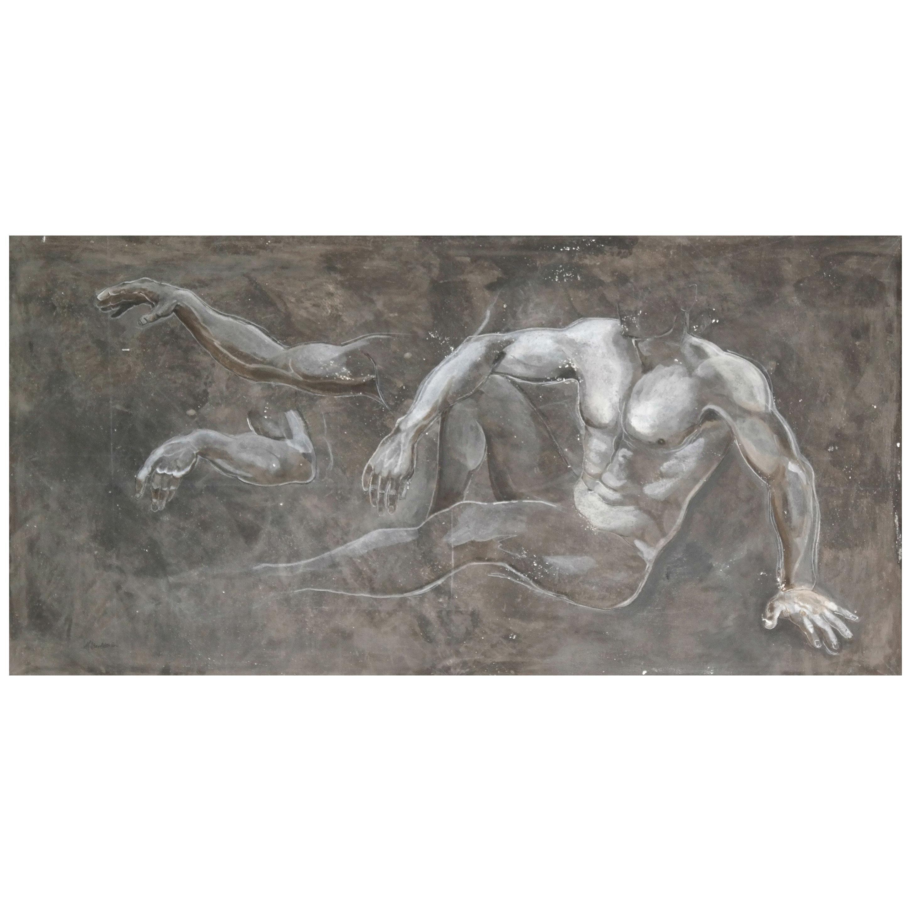 Study in Fresco - Fresco Painting of Male Torso by Melissa Barbieri