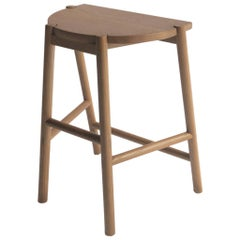 Moon Stool by Sun at Six, Sienna, Minimalist Counter Stool in Oak wood