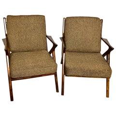 Pair of Gio Ponti Style Mid-Century Modern Rosewood / Walnut Armchairs