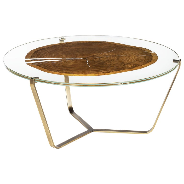 Small Table Cortina, in Glass and Clear Wood, Italy For Sale