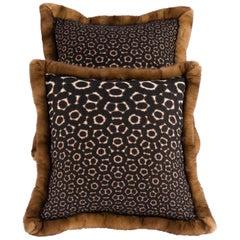 Pair of Pillows with Golden Mink Fur Border, Boussac Fabric