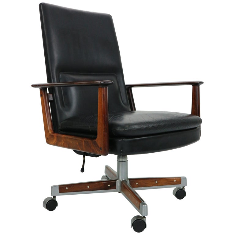 Phenomenal Rosewood Leather Executive Office Chair By Arne Vodder For Sibast 1960 Denmark Ncnpc Chair Design For Home Ncnpcorg