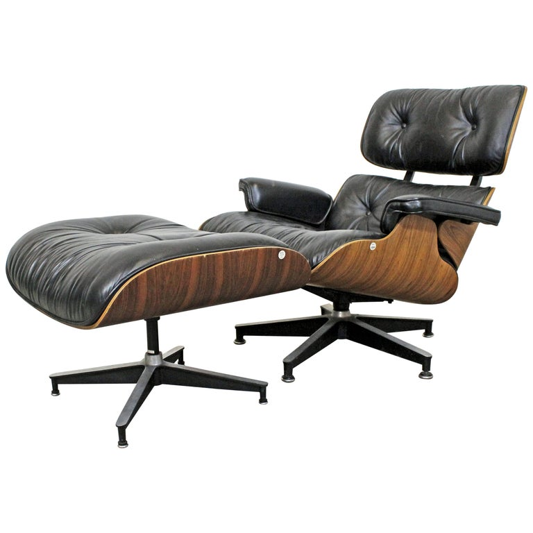 Mid-Century Modern Eames Herman Miller Rosewood Lounge Chair 670 & Ottoman 671 For Sale