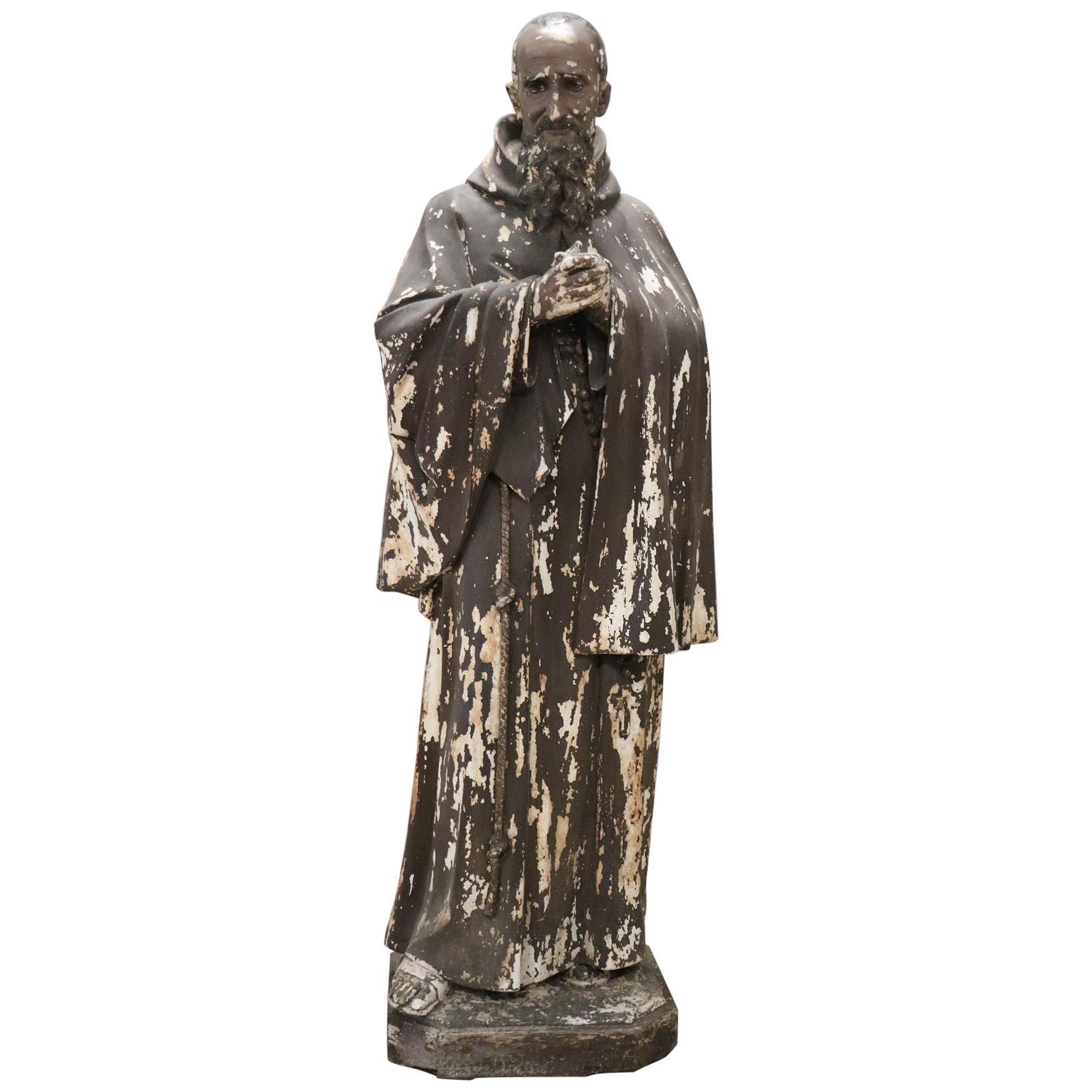 19th Century Italian Sculpture in Plaster Holy Francesco Maria da Camporosso