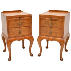 Pair of Antique Walnut Bedside Cabinets